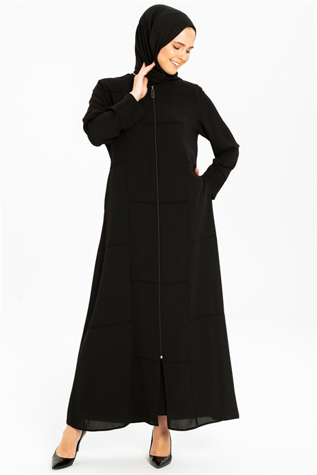 Beyza-Line Pleat Detailed Sport Black Abaya 3M3201