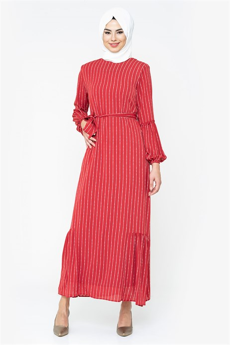 Striped Red Modest Dress