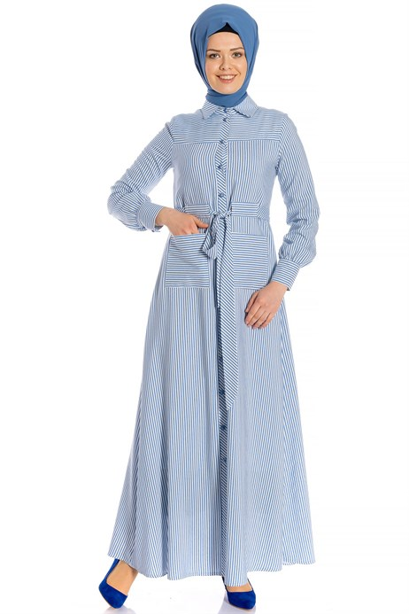 Striped Sports Light Blue Modest Dress