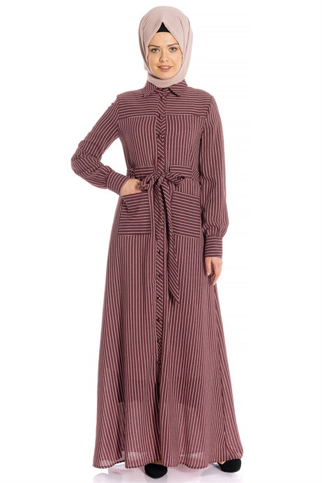Striped Sports Claret Red Modest Dress