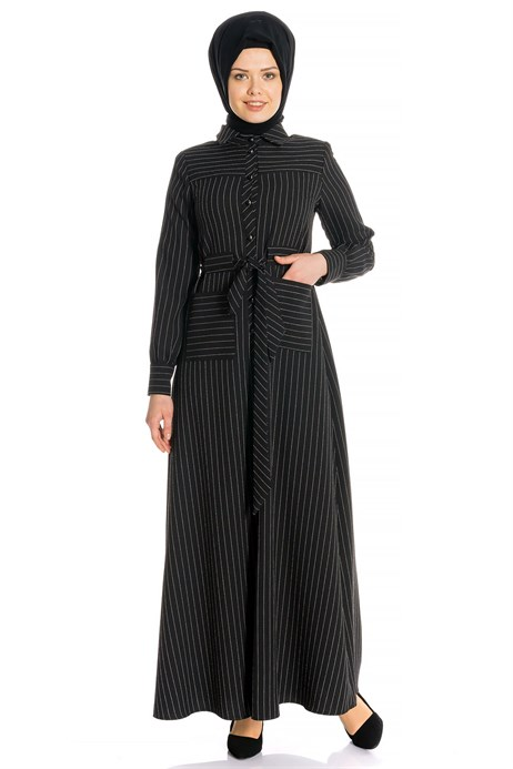 Beyza-Striped Sports Black Modest Dress