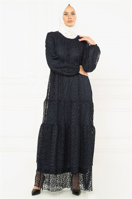 Laced Lined Navy Blue Dress 3M5126