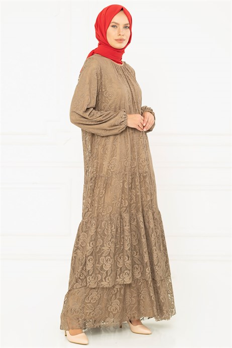 Beyza-Laced Lined Mink Dress 3M5126