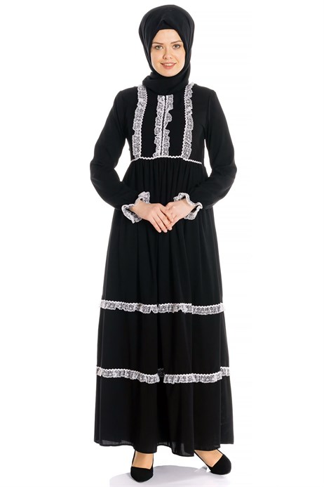 Laced Shirred Black Modest Dress