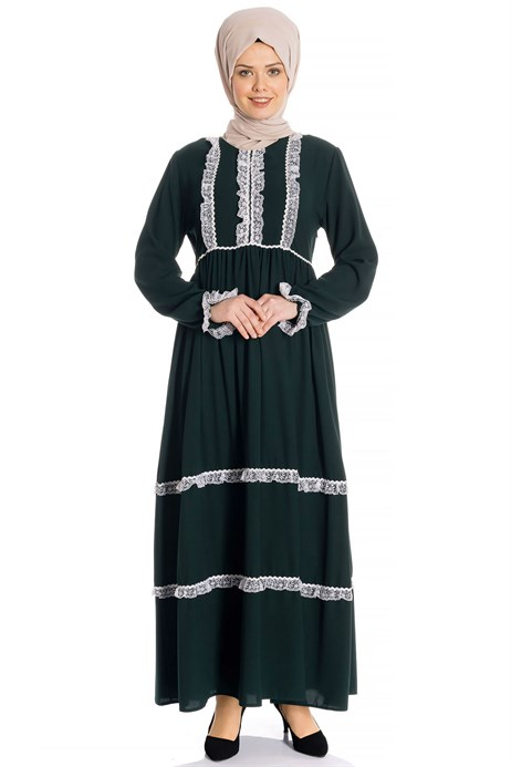 Laced Shirred Green Modest Dress