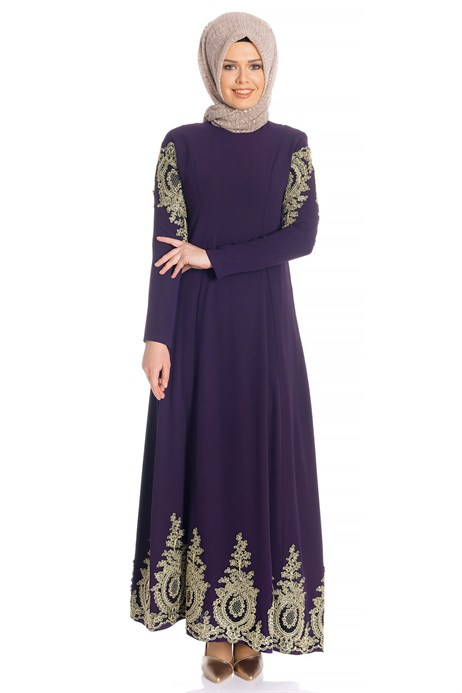 Laced Purple Modest Evening Dress