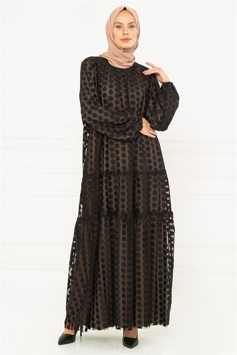 Laced Lined Black Spotted Mink Dress 3M5126