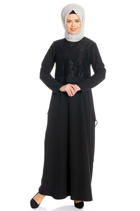 Laced Black Modest Evening Dress