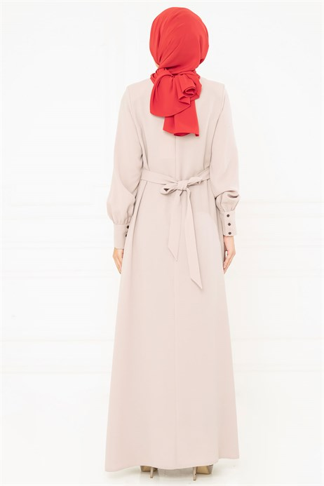 Beyza-Button Detailed Beige Modest Evening Dress 3M5183