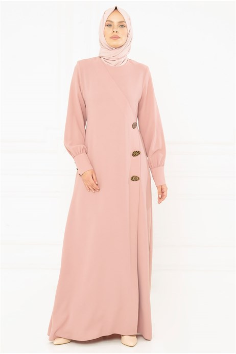Button Detailed Dusty Rose Modest Evening Dress 3M5183