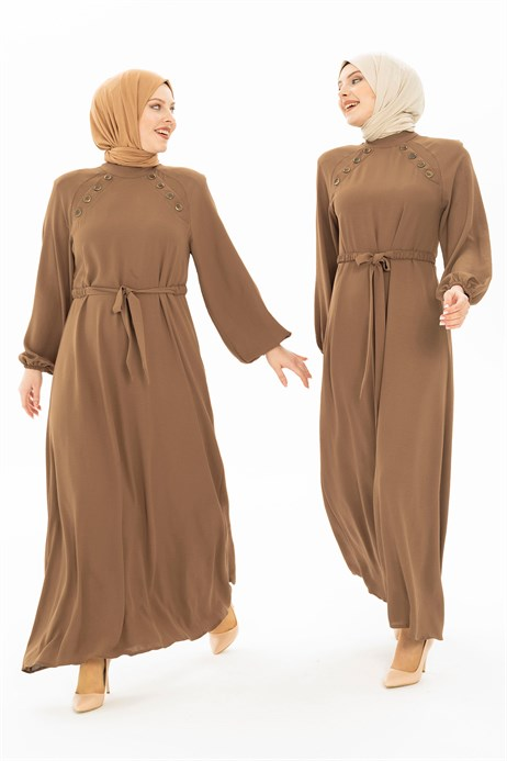 Button Detailed Brown Hijab Dress 5228