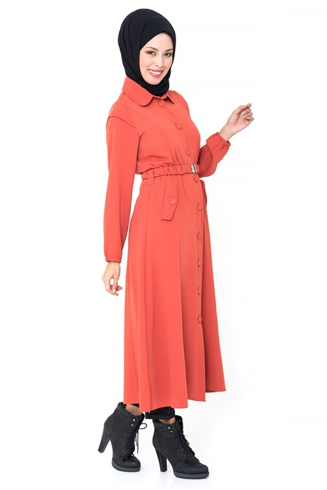 Beyza-Buttoned Belted Orange Cap