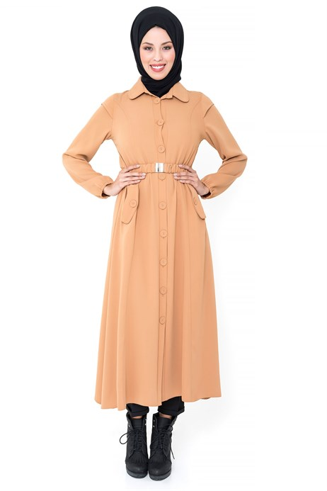 Buttoned Belted Salmon Pink Coat