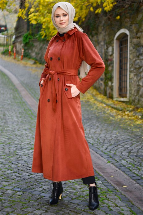 Buttoned Brick Color Coat with Sash 3M3147