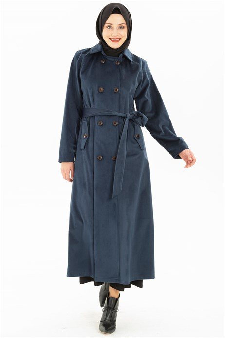 Buttoned Indigo Coat with Sash 3M3147
