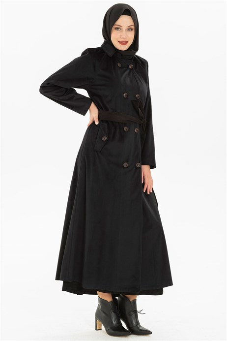 Buttoned Black Coat with Sash 3M3147