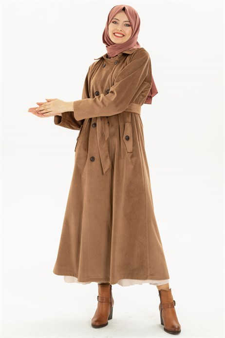 Beyza-Buttoned Mink Coat with Sash 3M3147