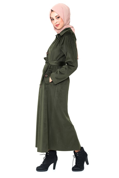 Beyza-Buttoned Green Coat with Sash 3M3147