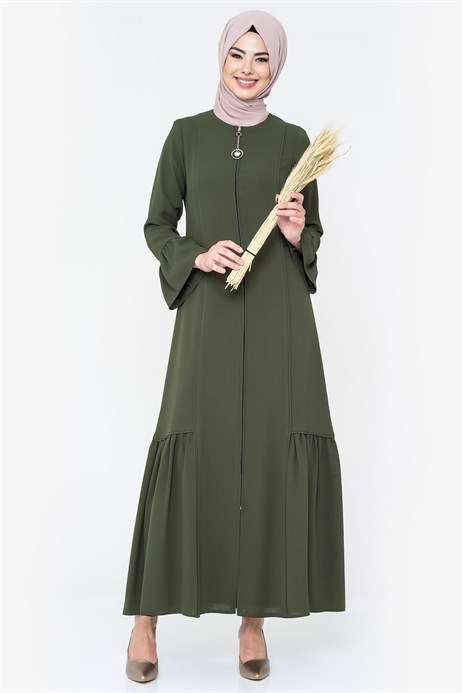 Zippered Pipe Detailed Khaki Abaya