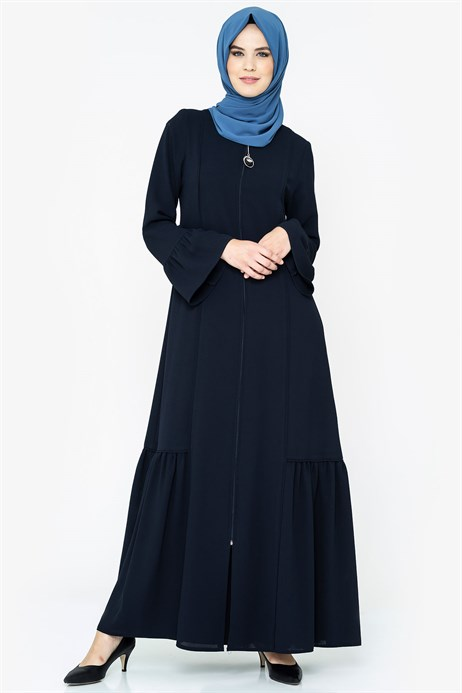Zippered Pipe Detailed Navy Blue Abaya