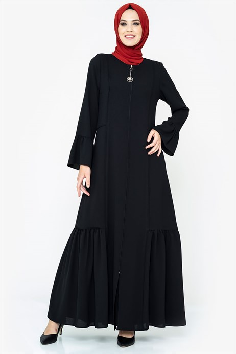 Zippered Pipe Detailed Black Abaya