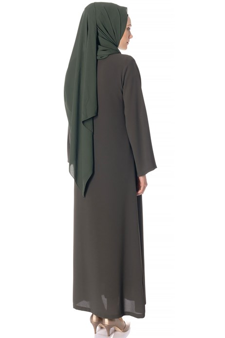 Beyza-Zippered Khaki Abaya with Gripper