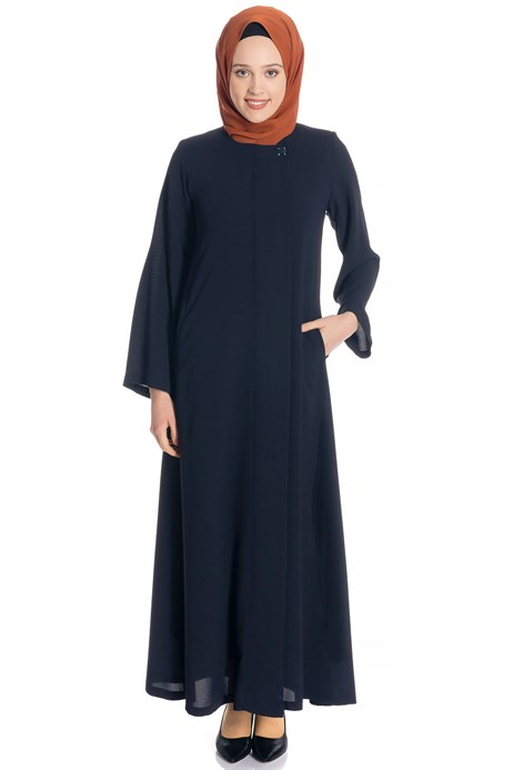 Zippered Navy Blue Abaya with Gripper
