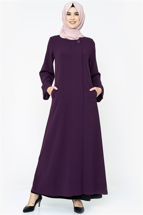 Zippered Purple Abaya with Gripper