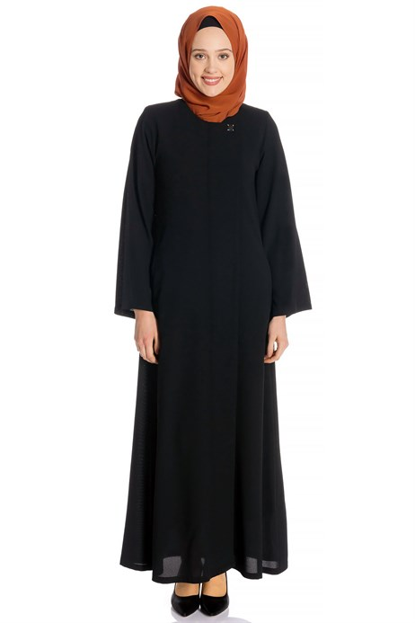 Zippered Black Abaya with Gripper