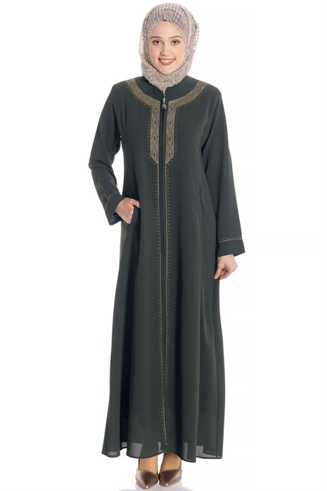 Zippered Gold Ornamented Khaki Abaya