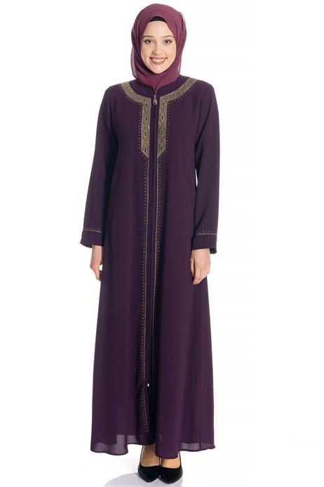 Zippered Gold Ornamented Purple Abaya