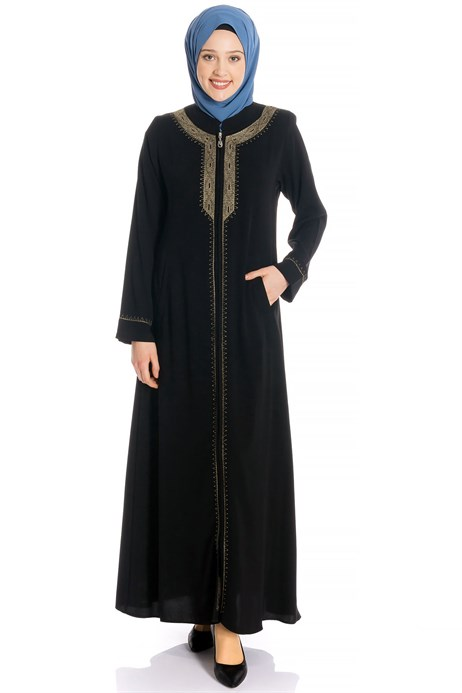 Zippered Gold Ornamented Black Abaya