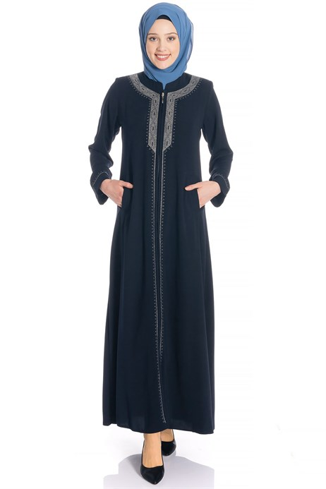 Zippered Silver Ornamented Navy Blue Abaya