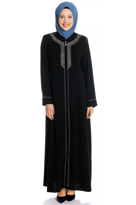Zippered Silver Ornamented Black Abaya
