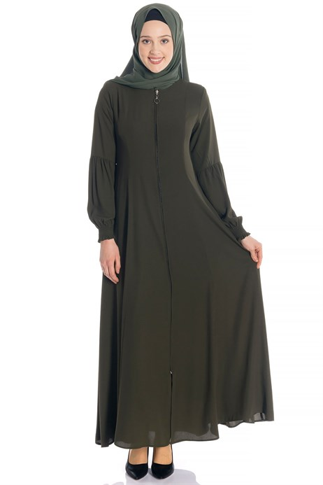 Zippered Flared Khaki Abaya 3M668