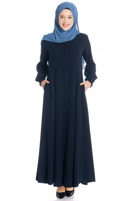 Beyza-Zippered Flared Navy Blue Abaya