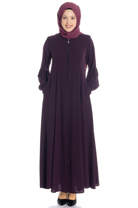Zippered Flared Damson Abaya 3M668