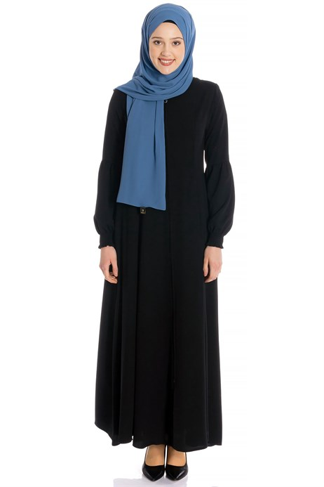 Zippered Flared Black Abaya