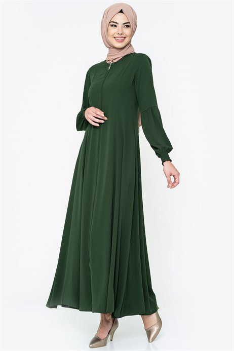 Zippered Flared Green Abaya