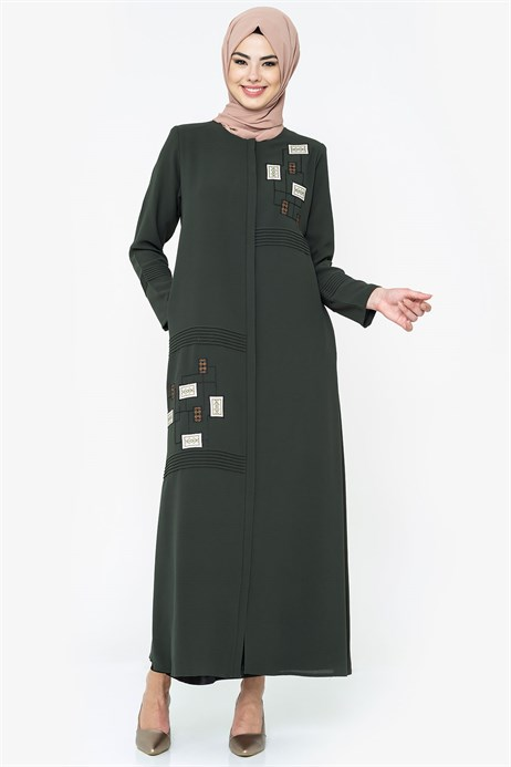 Zippered Ornamented Ethnic Detailed Khaki Abaya