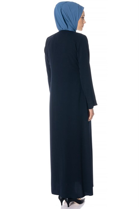Beyza-Zippered Ornamented Navy Blue Abaya