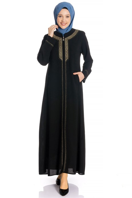 Zippered Ornamented Black Abaya