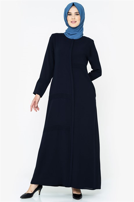 Zippered Rib Detailed Navy Blue Abaya