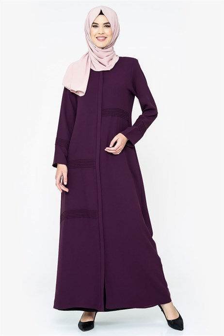 Zippered Rib Detailed Damson Abaya