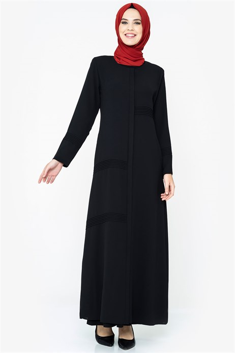 Zippered Rib Detailed Black Abaya
