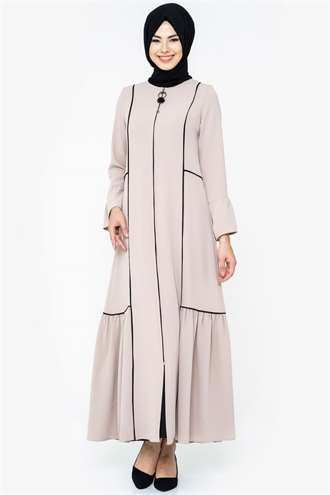 Zippered Black - Pipe Detailed Mink Abaya