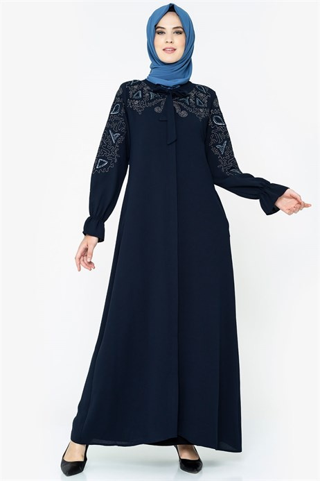 Zippered Lace-up Collared Ornamented Navy Blue Ferace