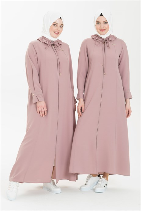 Ruffle Shirt Collared Powder Abaya 3330