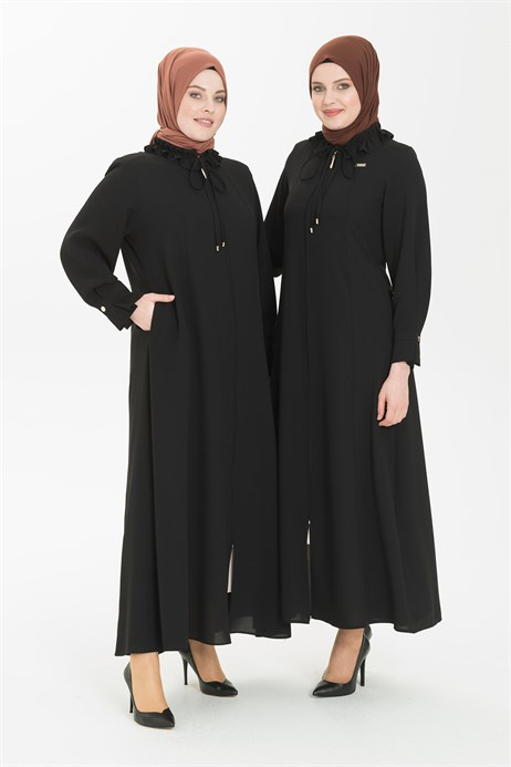 Ruffle Shirt Collared Black Abaya 3330