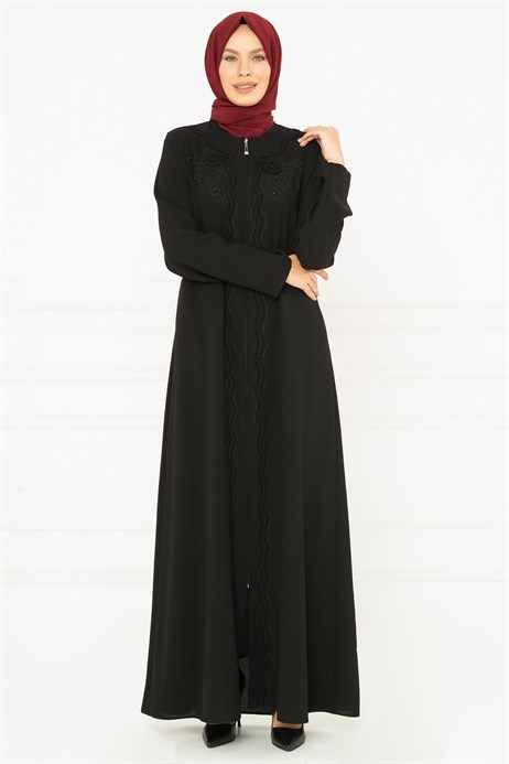 Flora Ornamented Black Abaya 3M3218